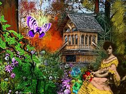 Beautiful Lady in Mystical Garden by Frances Perea